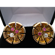 Retro 14kt Rose Gold Diamond Ruby Clip Earrings