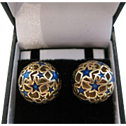 Vintage 14kt Enamel Stars Button Earrings