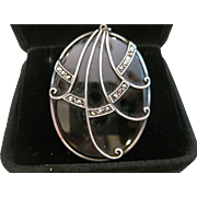 Art Deco Style Black Onyx and Marcasite Pendant