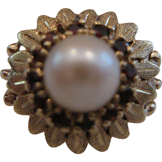 Estate Pearl and Ruby Halo 14kt Ring