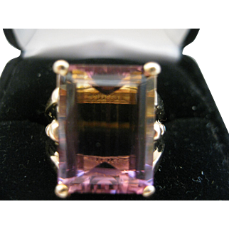 Gorgeous Large Ametrine Emerald Cut 14kt Ring