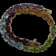 Vintage 14kt Rainbow Gemstone Line Bracelet