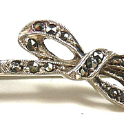Sleek Jugendstil Silver and Marcasite Brooch c. 1920