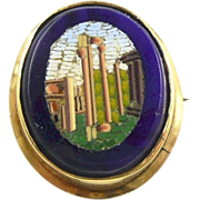 Victorian Grand Tour Roman Forum Micro Mosaic and Gold Brooch c. 1880