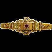 INteresting Etruscan Revival Diamond Gold and Garnet Hanky Holder Brooch c. 1880