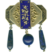 Unique Victorian Lapis, Gold, Pearl and Enamel Chatelaine Brooch c. 1870