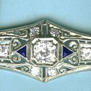 Superb Edwardian/ Art Deco Platinum, Diamond and Sapphire Bar Brooch