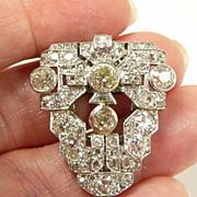 Unbelieveable Art Deco Platinum & Diamond Dress Clip c. 1930