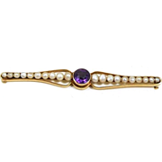 Artsy Nouveau Amethyst and Natural Pearl Brooch c. 1900