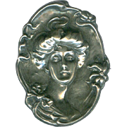 Dramatic Art Nouveau Sterling Gibson Girl Cameo Brooch c. 1900