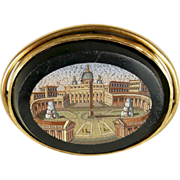 Fascinating Grand Tour Victorian MicroMosaic Brooch of St. Peter's Square, the Vatican c. 1870