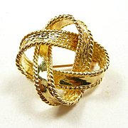 Classic and Dressy Gold Ribbon Knot Brooch c. 1960