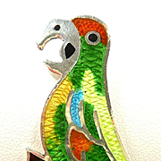 Bubbly and Bright Jose Federico Vintage Taxco Sterling Enamel Parrot Brooch