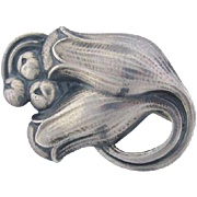 Early Classic Antique Large Georg Jensen Silver Tulip Brooch #100B c. 1910