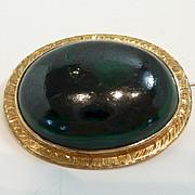Simple and Elegant Victorian Malachite/Azurite Brooch c. 1880