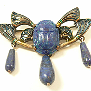 Exciting Egyptian Revival Lapis and Enamel Brooch c. 1920