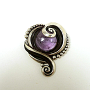 Bold Early Margot de Taxco Brooch with Amethyst #5214