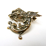 Garrulous Griffin Dragon Art Nouveau Brooch c. 1890