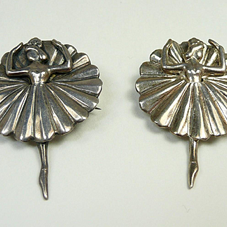 Bright Ballerina Brooches by Margot de Taxco #5200 c. 1950