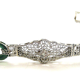 Alluring Art Deco Filigree Diamond and Chrysoprase Bracelet c. 1920