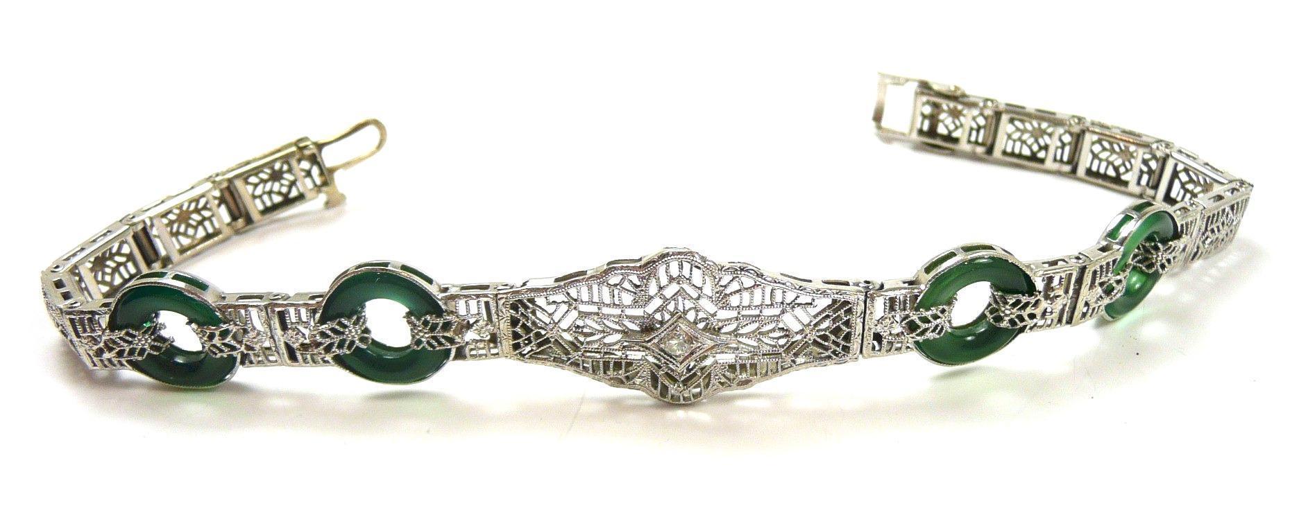 Alluring Art Deco Filigree Diamond and Chrysoprase Bracelet c. 1920