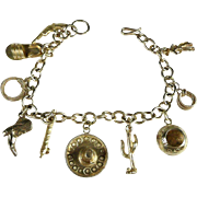 Adorable Texas Western Themed Sterling Silver Charm Bracelet c. 1955