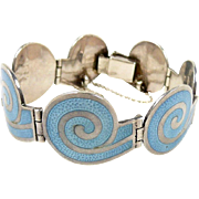 Magical Margot de Taxco Enamel and Sterling Circular Spiral Bracelet #5357 c. 1955