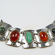 Handwrought Jugendstil German Arts & Crafts Silver Bracelet with Stones c. 1920