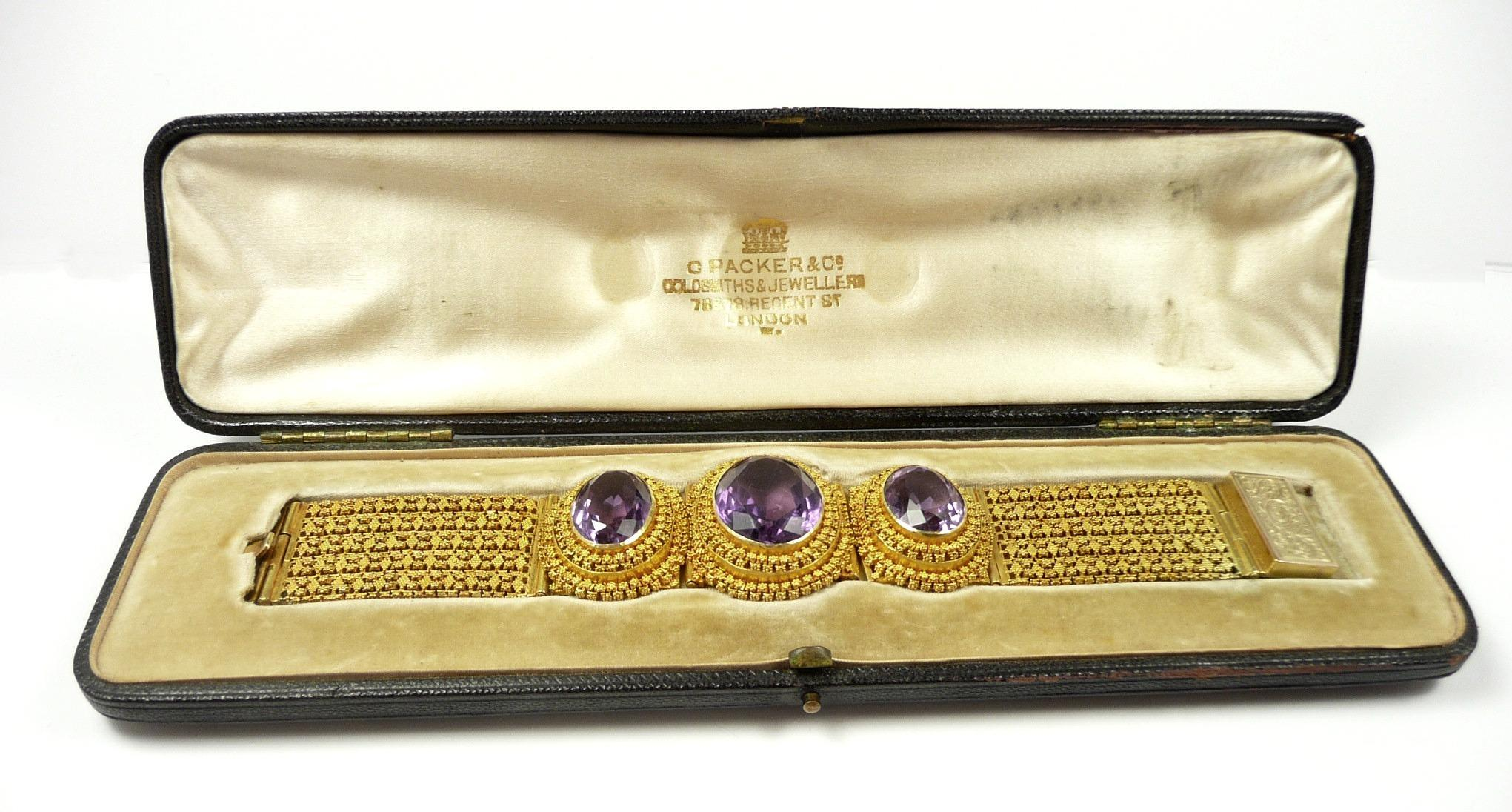 Glamorous Granulated Gold Victorian Amethyst Bracelet by Charles Packer c. 1860