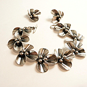 Evocative N. E. From Denmark Floriform Sterling Demi-Parure c. 1945