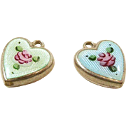 Charming Enamel and Painted Sterling Heart Charms c. 1950
