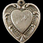 Festooned Sterling Heart Charm c. 1950