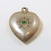 Pretty Puffy Heart Sterling Charm c. 1950
