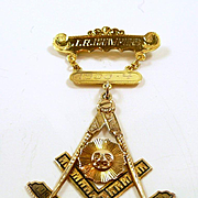 Mystical Vintage Gold and Enamel Texas Masonic Lapel Pin and Pendant c. 1924