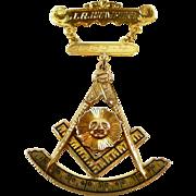 Mystical Vintage Gold and Enamel Texas Masonic Lapel Pin and Pendant c. 1924