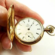 Charming Elgin 6S 14kt. Solid Gold Hunter Case Pocket Watch C. 1888