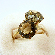 Colorful Quartz Ladies Crossover Fashion Ring c. 1960