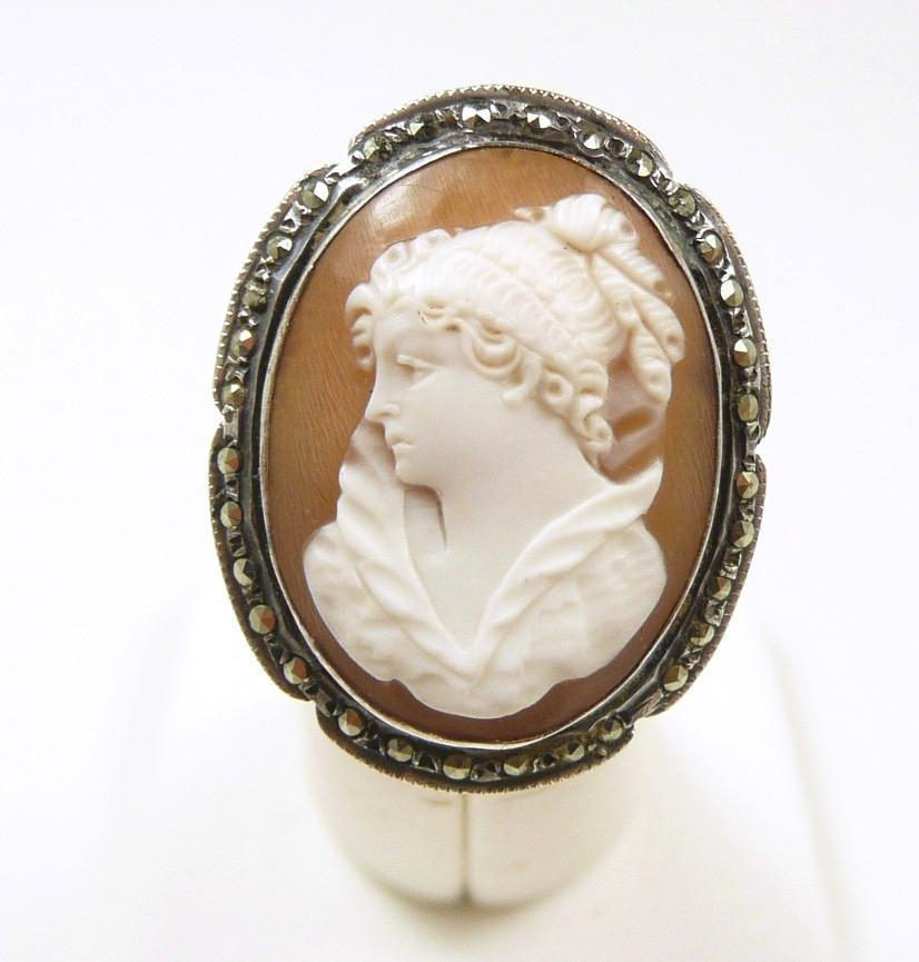 Early German Cameo Ring with Marcasites c. 1900