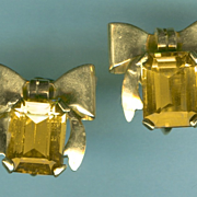 Classic Retro Modern Citrine and Gold Earrings c. 1945
