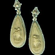 Delicious Vesuvius Lava Cameo Earrings of the Victorian Grand Tour c. 1870
