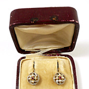 Darling French Dormeuse Ruby, Diamond and Pearl Earrings c. 1880