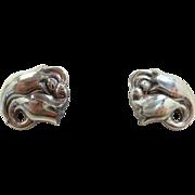 Classy Georg Jensen Double Tulip Earrings Model #100 c. post 1945