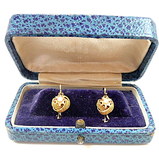 Delectable Victorian Gold Twist Etruscan Earrings with Natural Pearls c. 1870