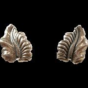Sleek Mid Century Modern Leaf N E From Sterling Earrings c. 1950