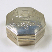 Sweet Chatelaine Pill/ Snuff Box in Sterling c. 1880