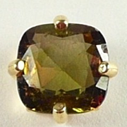 Fabulous Color Change Andalusite and Gold Tie Pin or Single Earring c. 1970