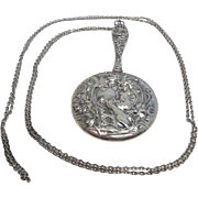 Captivating Chatelaine Sterling Purse Mirror with Chain c. 1890