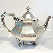 Extraordinary Victorian Silver Plate Teapot Civil War Era c. 1860-80