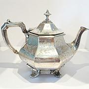Extraordinary Victorian Silver Plate Teapot Civil War Era c. 1860-80