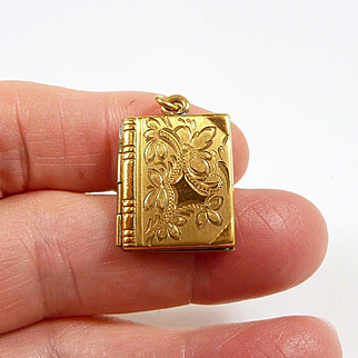 Charming Engraved Book Charm Pendant GF c. 1950